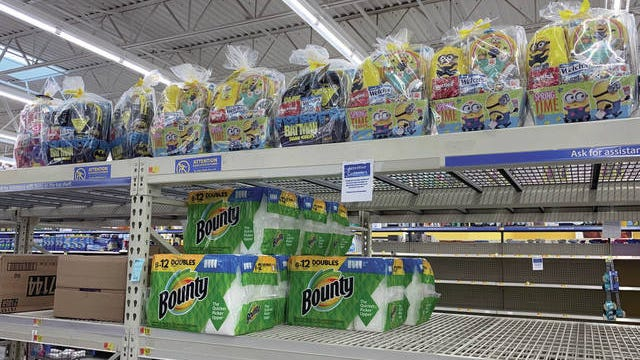 The shelves at Walmart have been hit or miss for toilet paper and paper towels. But the shelves were filled with dozens of Easter baskets Sunday.