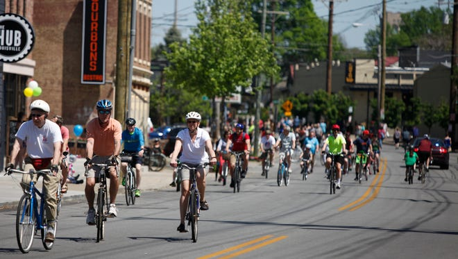 Several thousand people participated in the annual CycLOUvia event on Frankfort Ave. April 24, 2016.
