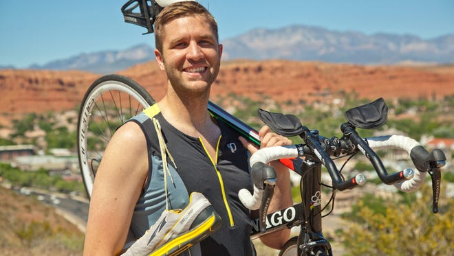 Local Ironman athlete Brock Bybee prepares to compete in the St. George Ironman on Saturday.