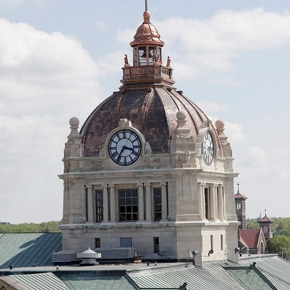 The Brown County Courthouse dome seen from the roof