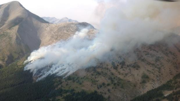 The Spotted Eagle Fire burns in the Badger-Two Medicine area of Lewis and Clark National Forest.