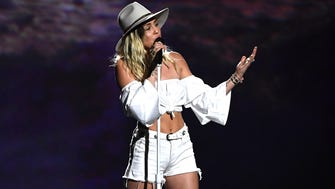 Miley Cyrus at the 2017 Billboard Music Awards at T-Mobile Arena on May 21, 2017 in Las Vegas, Nevada.