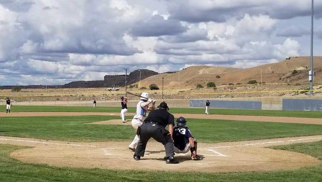 Connecticut Bombers' Jack DePaolo pitches against D-BAT 17 on Saturday at the Farmington Sports Complex.