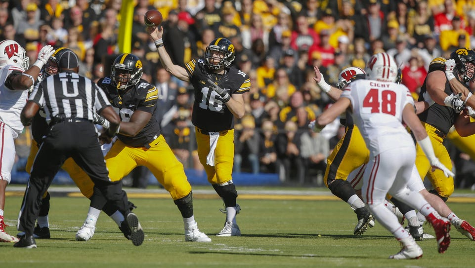 Iowa quarterback C.J. Beathard wound up completed 17