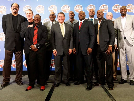 The NBA Hall of Fame nominees and members pose for a picture during the NBA Hall of Fame Annoucement can at New Orleans Hyatt.