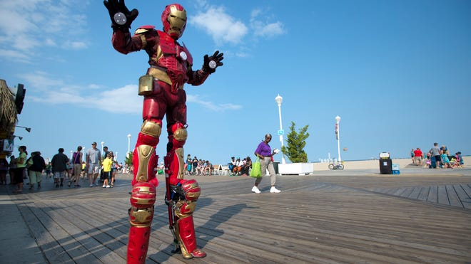Stephen Sepulveda of Fort Myers, Fla., above, built his entire Iron Man costume, which includes lacrosse gloves, motorcross armor on his chest, a baseball catcher's leg guards, football thigh pads, computer parts and lights.