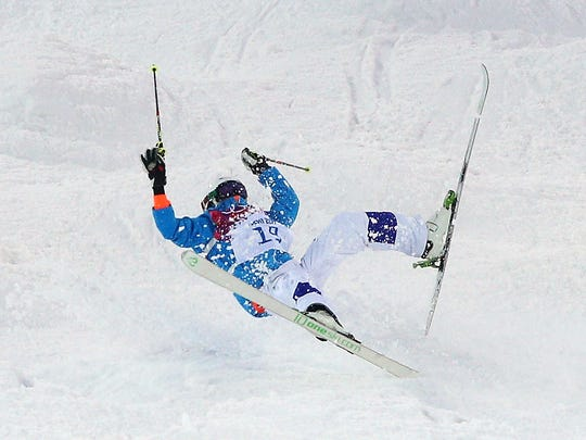Ville Miettunen of Finland crashes out in the Men's Moguls Qualification on day three of the Sochi 2014 Winter Olympics at Rosa Khutor Extreme Park on February 10, 2014 in Sochi, Russia.