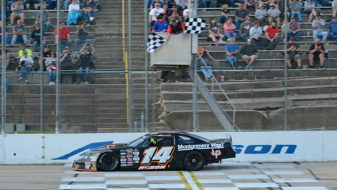 Austin Nason takes the checkered flag in the 200-lap main event at the ARCA Midwest Tour Joe Shear Classic on Sunday, May 6, 2018, at Madison International Speedway in the Town of Rutland.