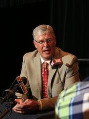 Iowa State Cyclones head coach Paul Rhoads talks Tuesday during the Big 12 Media Days at Omni Dallas.