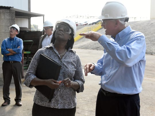 Big Rivers CEO Bob Berry gives Kentucky Lt. Gov. Jenean Hampton a tour of the Sebree station in Robards Wednesday.  Hampton made several stops in Western Ky., including Big Rivers.