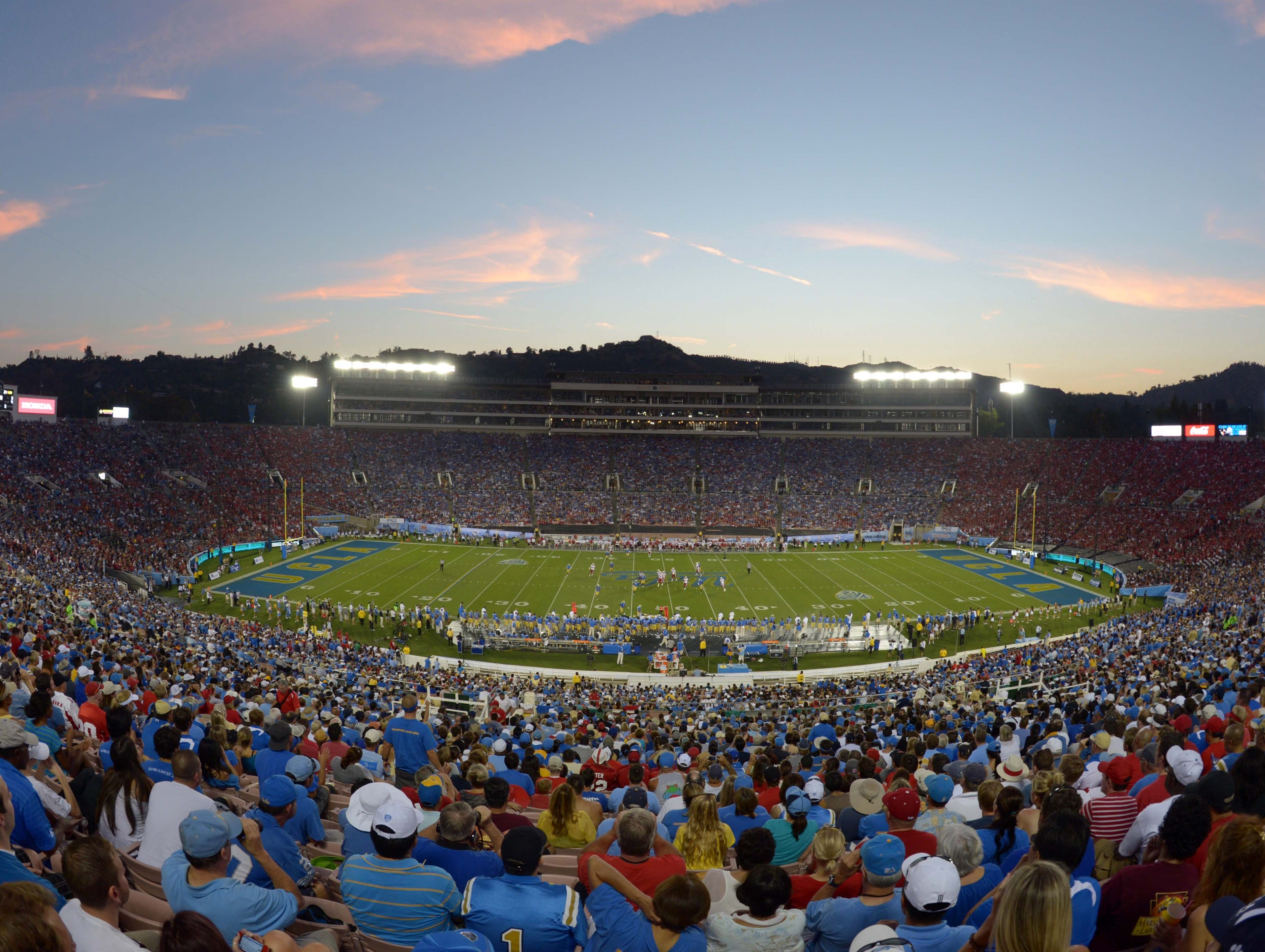 Rose Bowl, UCLA: No scene in college football might be more beautiful than the sun setting over the San Gabriel Mountains during the Rose Bowl with the crowd full of the contrasting colors of each team.