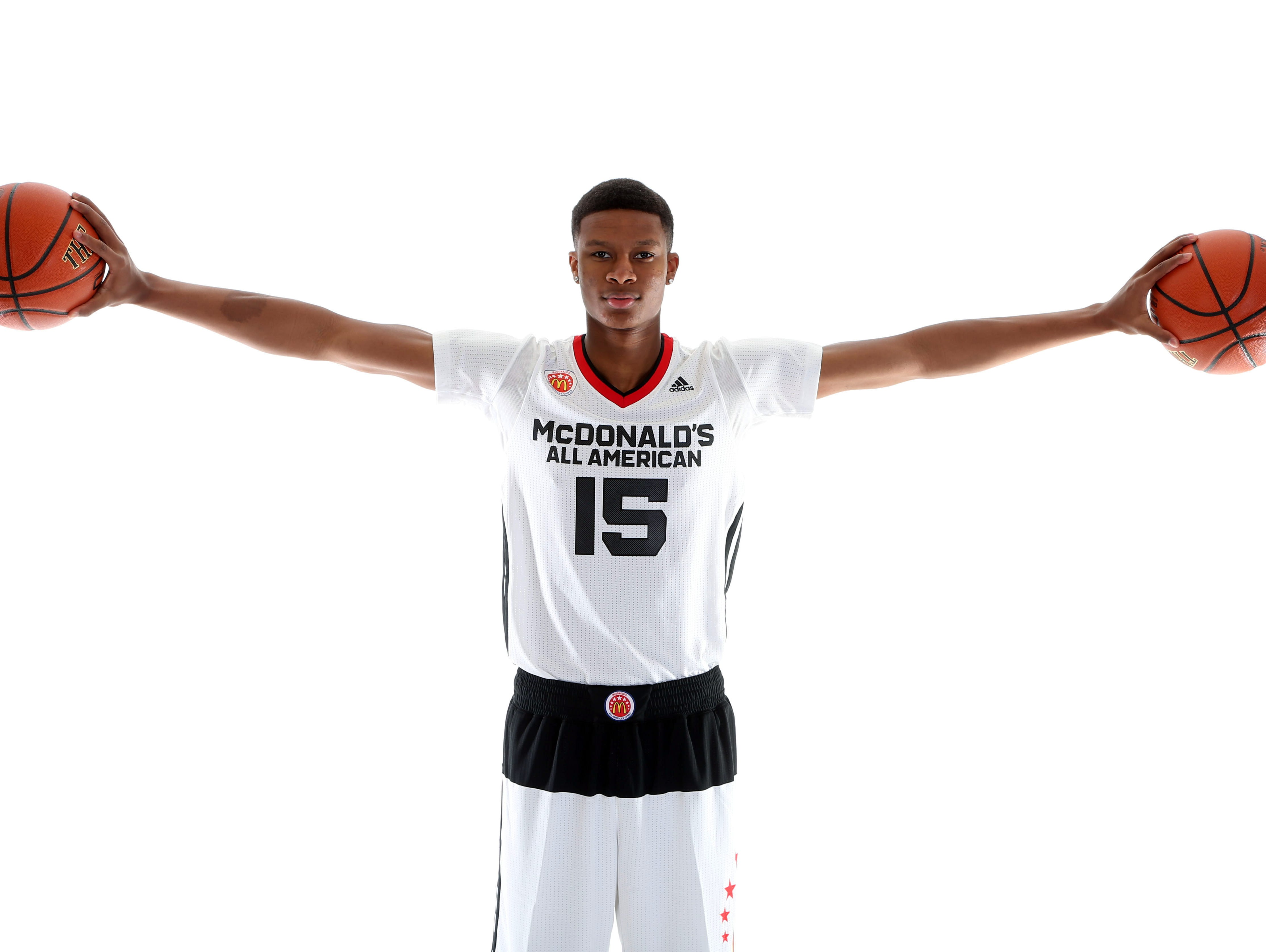 Mar 28, 2015; Chicago, IL, USA; McDonalds High School All American athlete PJ Dozier (15) poses for pictures during portrait day at the Westin Hotel. Mandatory Credit: Brian Spurlock-USA TODAY Sports