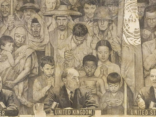 """A portion of Normal Rockwell's """"United Nations"""""""