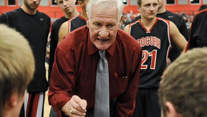 Rocori High School head coach Bob Brink talks to his players in a 2012 Section 5-3A tournament game against Mound Westonka in Cold Spring. It was to be Brink's last home game as coach. He has been named to the Minnesota State High School League Hall of Fame.