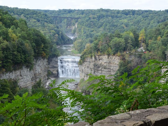 A falls view in the Letchworth State Park in Castile.