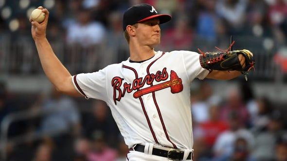 Aug 22, 2019; Cumberland, GA, USA; Atlanta Braves starting pitcher Mike Soroka. Photo Credit: Adam Hagy - USA TODAY Sports