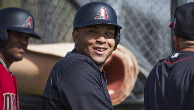 Diamondbacks' Yosmany Tomas waits to take to the batting cage during the first full squad day of spring training at Salt River Fields at Talking Stick on Tuesday, February 23, 2016.