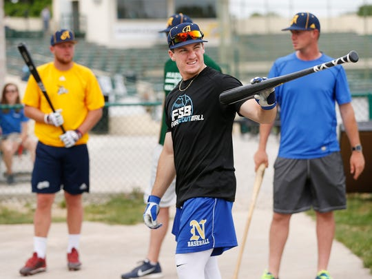Joey Werner gets set for some batting practice as the Lafayette Aviators work out Tuesday, May 29, 2018, at Loeb Stadium. Werner, who is an outfielder, comes to the Aviators from Texas A&M Corpus Christi.