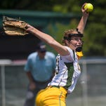 Calvary Baptist pitcher Sarah Chamberlain (13) throws to a Menard batter during a semifinal game in the LHSAA Fast Pitch 56 State Softball Championship tournament at Frasch Park in Sulphur.