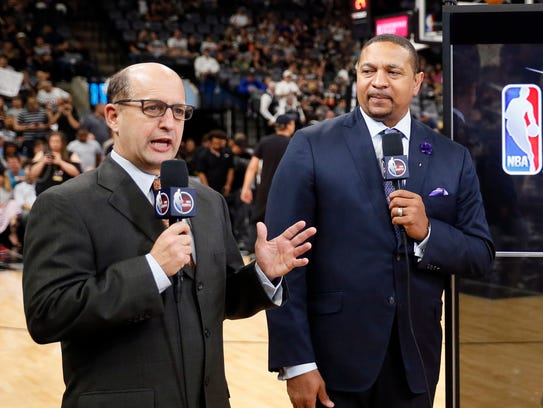 ESPN broadcasters Jeff Van Gundy and Mark Jackson before