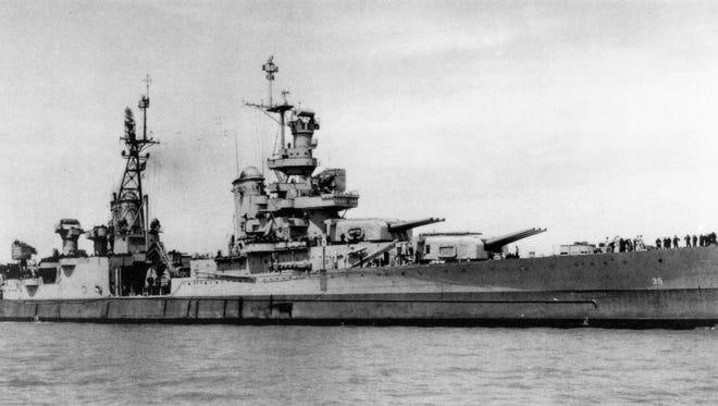 The last picture of the USS Indianapolis (CA-35) taken off Tinian Island shortly after it delivered the components of the atomic bomb and before its ill-fated final voyage in July 1945.