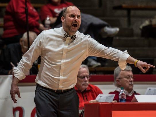 Richmond High School head coach Casey Pohlenz reacts