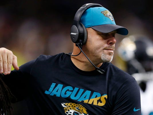 Jacksonville Jaguars head coach Gus Bradley works the sideline in the second half of an NFL football game against the New Orleans Saints in New Orleans, Sunday, Dec. 27, 2015. (AP Photo/Rogelio Solis)