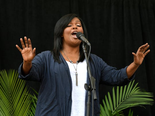 CeCe Winans performs before Mayor Megan Barry delivers her second State of Metro Wednesday, April 26, 2017 at Bridgestone Arena in Nashville, Tenn.
