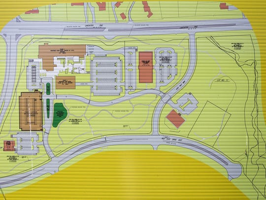 Plans show proposed development of an open field near the intersection of Centerville Road and Lancaster Pike.