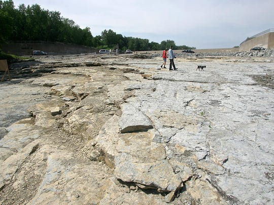 The Devonian Fossil Gorge was exposed after the 1993 flood surged over the emergency spillway Coralville Lake.