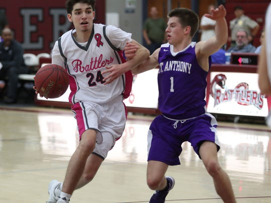 Koby Alvarez, 24, drives toward the rim during Rancho
