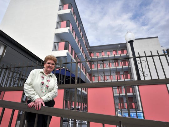 The late Rose Brous stands in front of the Flamingo Motel at 31st Street and Baltimore Avenue in Ocean City.
