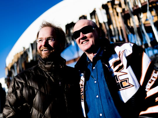 Developer Dixon Greenwood and amusement ride builder Stan Checketts at the former site of Belz Outlet Malls in Pigeon Forge, Tennessee on Wednesday, January 24, 2018. The former mall is being redeveloped into a mix of restaurants and entertainment.