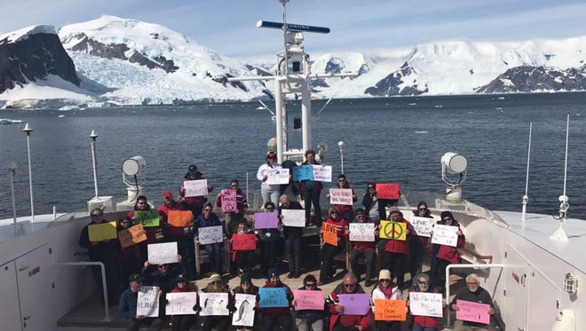 As millions gathered for women's marches in Washington, D.C. and around the world, a cold, brave group of protesters also assembled — in Antarctica.