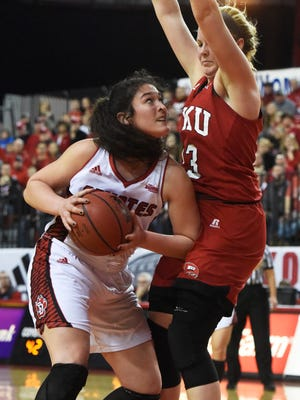USD's Kate Liveringhouse (34) returns as one of the Coyotes' top players after helping lift South Dakota to a WNIT title last season.