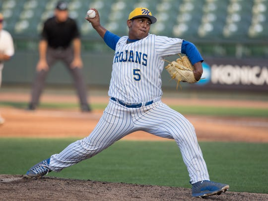 Moody's Marcus Cantu throws a pitch during the first inning of the 5A State Semifinal against Grapevine at Dell Diamond in Round Rock on Thursday, June 8, 2017.