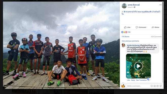 A photo of the trapped Thai soccer team and their coach. Source: A screenshot from the coach Ekaphol Chantadee Wong's Facebook page.