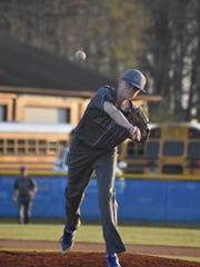 McNairy Central's Hayden Harris pitches against Riverside in the District 14-AA championship on May 9, 2018.