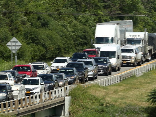 Traffic backs up on westbound Interstate 84 in Fishkill June 28,  2018.