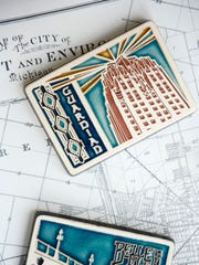 A tile commemorating Detroit's landmark Guardian Building