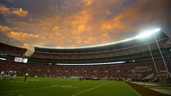 The sun sets at Bryant-Denny Stadium during the Alabama/Colorado State game in Tuscaloosa on Saturday. Photos by Mickey Welsh/Advertiser during first half action at Bryant-Denny Stadium before the Alabama Colorado State game in Tuscaloosa, Ala. on Saturday September 21, 2013. (Mickey Welsh, Montgomery Advertiser)