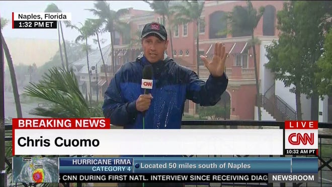 This image taken from video shows CNN's Chris Cuomo during his afternoon coverage of Hurricane Irma in Naples, Fla., on Sunday, Sept. 10, 2017.