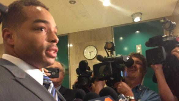 Former Indianapolis Colt Josh McNary speaks to the media after he was found not guilty of rape and two other charges on Thursday, Sept. 3, 2015.