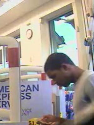 A possible credit card fraud suspect entering Walgreens in Byram.