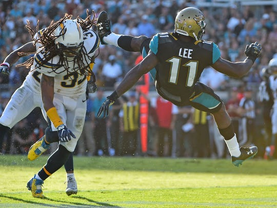 Los Angeles Chargers free safety Tre Boston upends