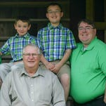 Bobby Aymond, center, with his sons Rusty, left, and Brady, right, and grandsons Logan, top left, and Kaleb, top right.