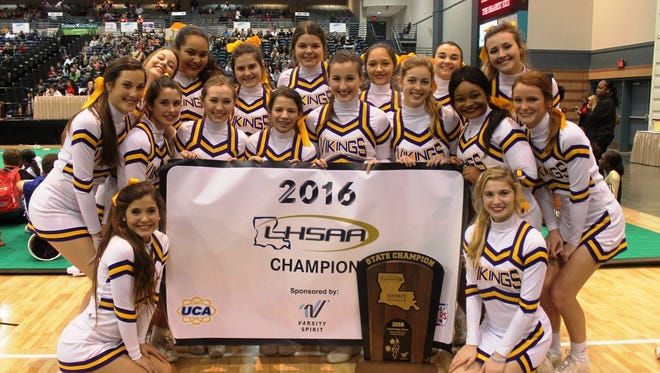 The Opelousas Catholic School varsity cheerleaders were named state champions in the LHSAA Division III cheer contest last weekend.