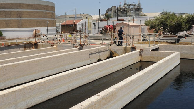 The chlorine contrast tank at Oxnard's wastewater treatment facility is shown.