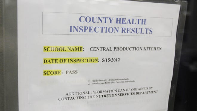 County health inspection results are posted in the Salem-Keizer School District central kitchen Thursday, May 24, 2012.