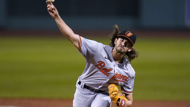 Baltimore Orioles starting pitcher Dean Kremer delivers during Wednesday's game against the Boston Red Sox in Boston.